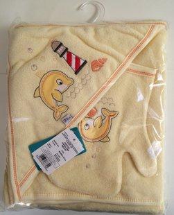 Dvielis ar cimdu dzeltens delfīns: 90x90